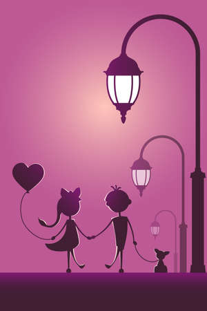Silhouettes of a boy with pet and a girl with balloon walking in the street light. Love concept. Design for card. Valentines day.