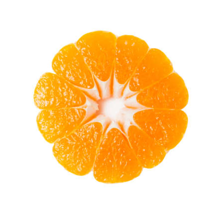 Tangerine slice with shadow isolated on white background.