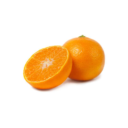 Ripe tangerines and slices isolated on white background.