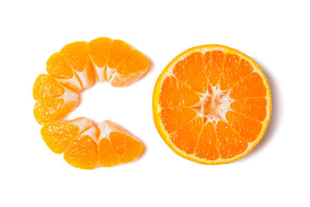 Tangerine slice with shadow isolated on white
