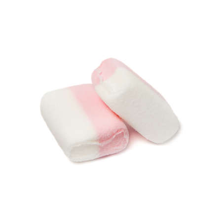 Two Fluffy white-pink marshmallow macro isolated over white background