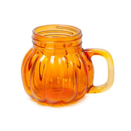 Orange mug with handle isolated on white background