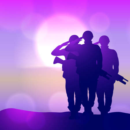 Silhouette of a soliders saluting against the sunrise. Concept - protection, patriotism, honor. Illustration