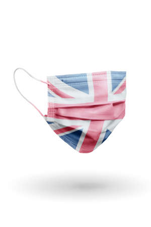 Surgical face mask with pattern flag Great Britain isolated on white background.