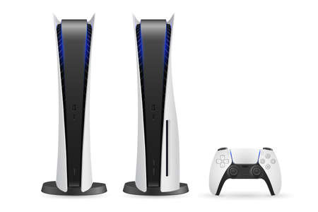 Two variants nextgen console with gamepad controller isolated on white background. Digital edition and base model console.