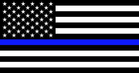 American flag with police support symbol Thin blue line. American police in society as the force which holds back chaos, allowing order and civilization to thrive. Banner poster, card, background. Vector Illustration