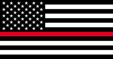 Thin Red Line Firefighter Flag. USA flag. Remembering, memories on fallen fire fighters officers on duty.
