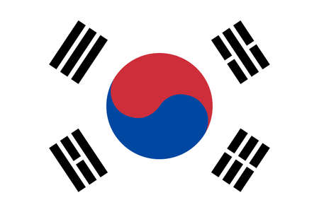 South Korean flag. Official flag form of South Korean country. EPS10 vector illustration.