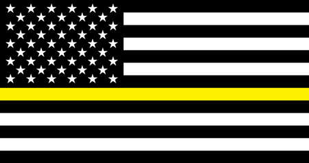 Thin Yellow Line Security Personnel Flag. USA flag. Security Personnel of the USA flat flag. Banner poster, card, background.  vector.