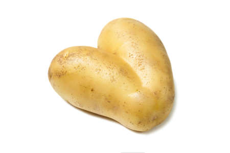 Heart shaped raw harvest potatoes isolated on white background.
