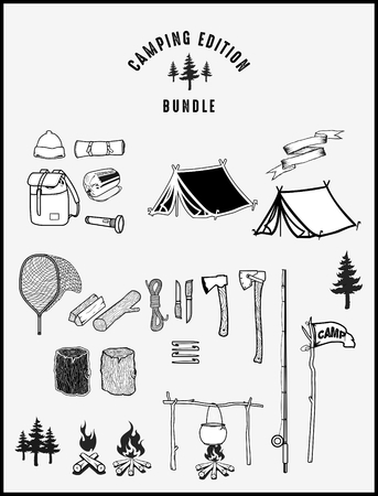 Camping equipment in a  set Illustration
