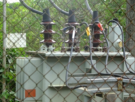 three phase: Three Phase Electrical Transformer in Fence