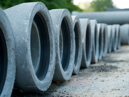 effluent: Cement sewerage pipes in a row