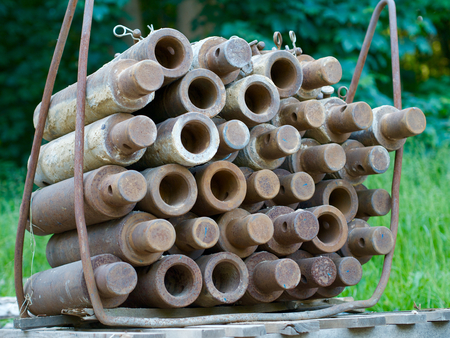 sheet pile: Stacked bolts for sewer rehabilitation work underground