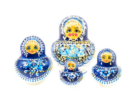 russian nesting dolls: blue russian dolls isolated on white background Stock Photo