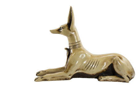 egypt anubis: fience egypt anubis isolated on white background. This item is my collection, no restrict in copy or use