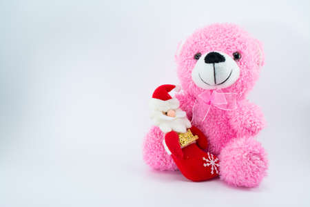 santa cross: cute teddy bear with shadow isolated on white background. This is my collection, no restrict in copy or use.