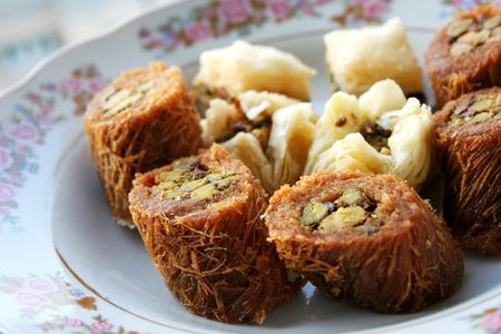 collation: Arabic sweet pastries & dessert on dish