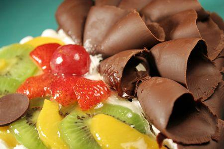 Cake with chocolate & fruit Stock Photo