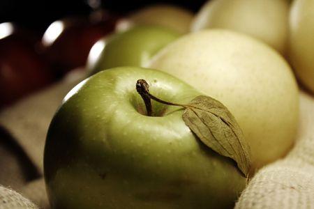 pears & apples on jute photo