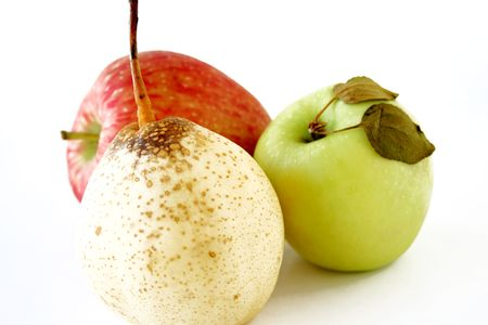 Isolated pears & apples photo