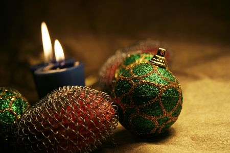 andamp: Christmas balls andamp,amp, candles on golden background 5