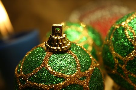 andamp: Christmas balls andamp,amp, candles on golden background 3