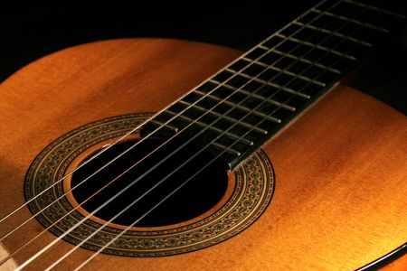 Classical guitar on black background Stock Photo