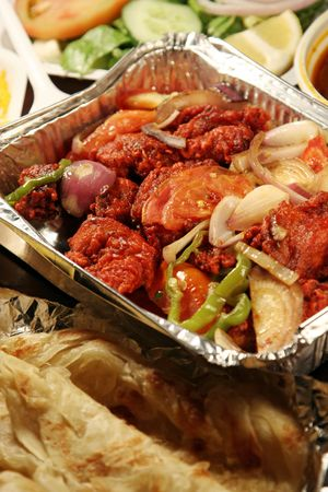 masala: indian biryani comida con pollo masala Foto de archivo