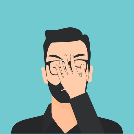 Flat Disappointed Man Vector Illustration