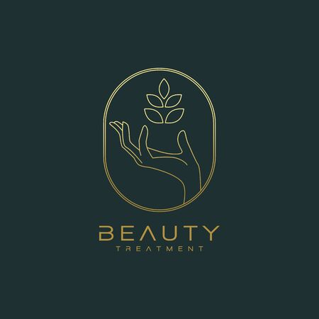 Botanical Hand Logo Design Vector Ilustrace