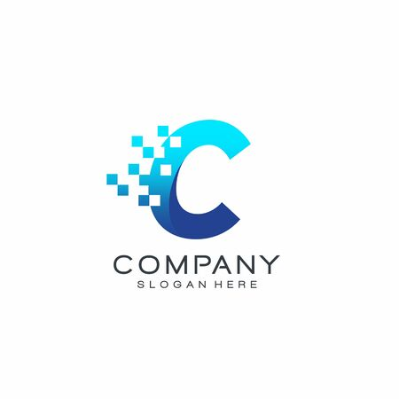 Letter Pixel logo, Blue color, Technology and digital logotype