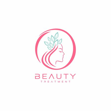 Beautiful woman face logo design template