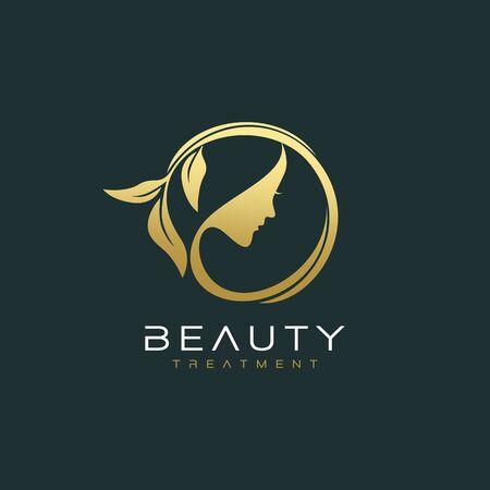Beautiful woman face logo design template Ilustrace