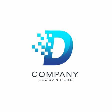 Letter Pixel logo, Blue color, Technology and digital logotype