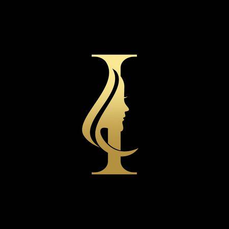 Letter I Beauty Women Face Logo Design Vector