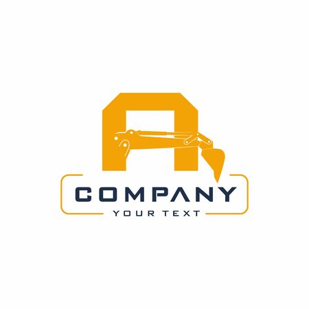 Letter Excavator Logo Design Vector, Backhoe Construction Company Archivio Fotografico - 138465449