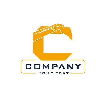 Letter Excavator Logo Design Vector, Backhoe Construction Company