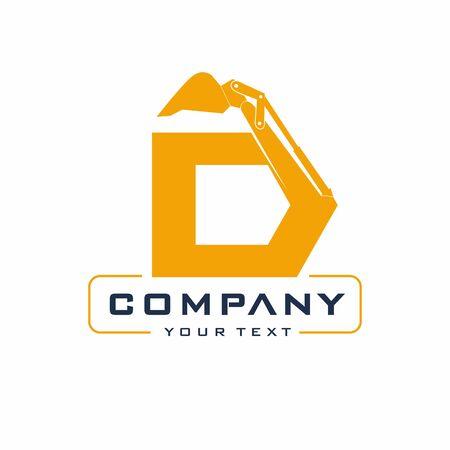 Letter Excavator Logo Design Vector, Backhoe Construction Company Archivio Fotografico - 138465388