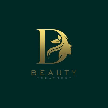 Letter D Luxury Beauty Face Logo Design Vector