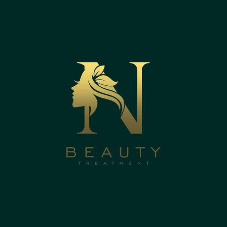 Letter N Luxury Beauty Face Logo Design Vector Logó