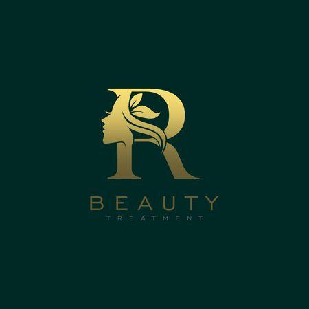 Letter R Luxury Beauty Face Logo Design Vector