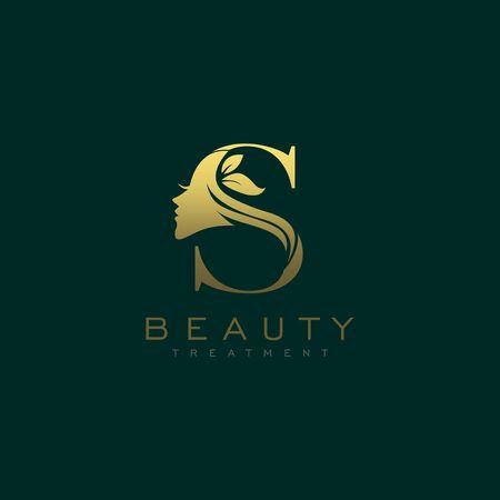 Letter S Luxury Beauty Face Logo Design Vector