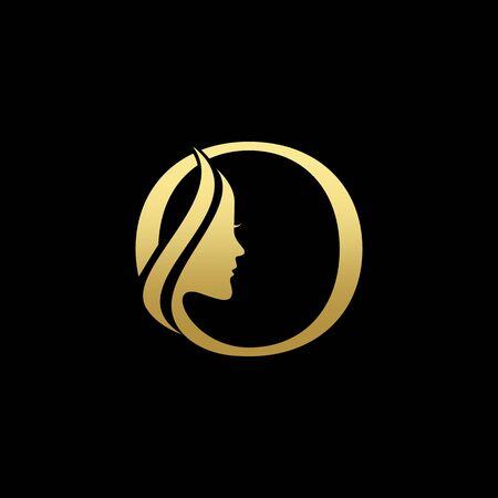 Letter O Beauty Women Face Logo Design Vector