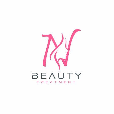 Letter N beauty Face Logo Design Vector Icon