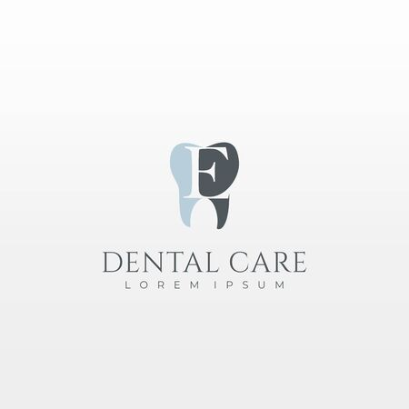 Letter E Dental Tooth Logo Design  イラスト・ベクター素材