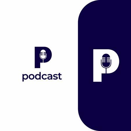 Letter P Podcast Record Logo Icon Design