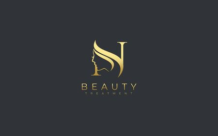 Letter N Beauty Face Logo Design Logo
