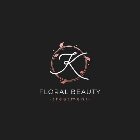 Letter K Premium Vector of Round Floral Frame Element