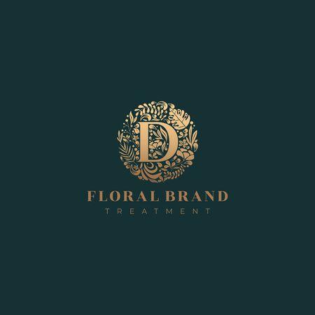 Letter D golden luxurious circle floral decorative logo